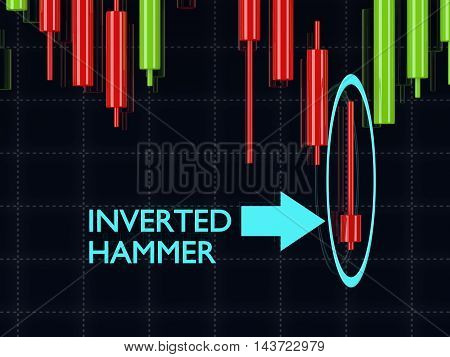 3D Rendering Of Forex Candlestick Inverted Hammer Pattern Over Dark