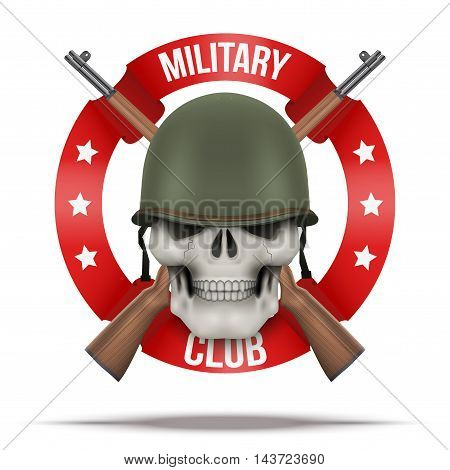 Symbol of Military US green helmet and skull infantry with m1 rifles. Symbol of WWII. Vector Illustration isolated on background.