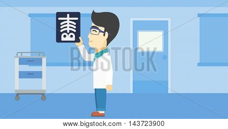 An asian doctor examining a radiograph. Doctor looking at a chest radiograph in the medical office. Doctor observing a skeleton radiograph. Vector flat design illustration. Horizontal layout.