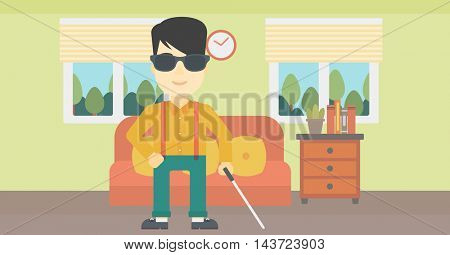An asian blind man standing with walking stick. Young man in dark glasses with cane standing in the living room. Vector flat design illustration. Horizontal layout.