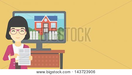 Asian woman standing in front of tv screen with house photo on it and pointing at real estate contract. Concept of signing of real estate contract. Vector flat design illustration. Horizontal layout.