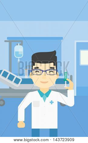 An asian male doctor holding medical injection syringe. Doctor with syringe in hospital ward. Doctor holding a syringe ready for injection. Vector flat design illustration. Vertical layout.