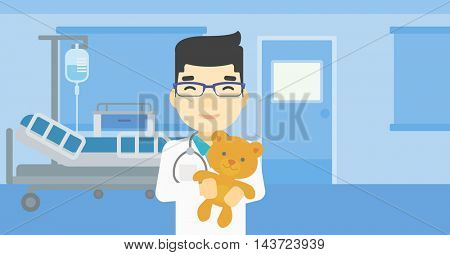 Young asian male pediatrician doctor holding a teddy bear. Professional pediatrician doctor with a teddy bear in the hospital room. Vector flat design illustration. Horizontal layout.