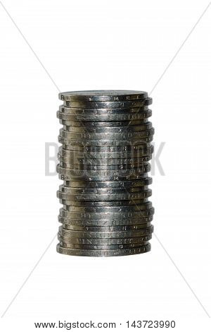 A stack of coins on an isolated background. money