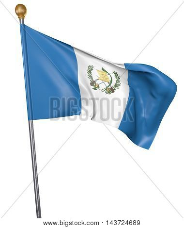 National flag for country of Guatemala isolated on white background, 3D rendering