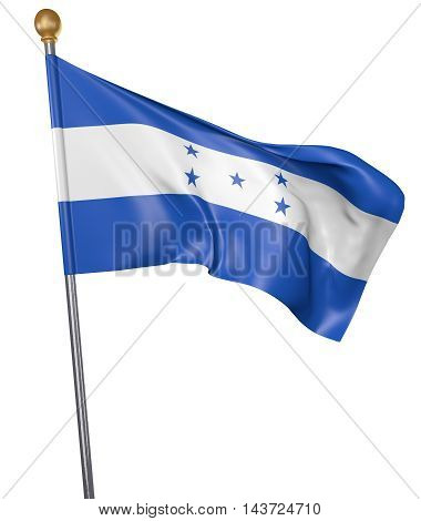 National flag for country of Honduras isolated on white background, 3D rendering
