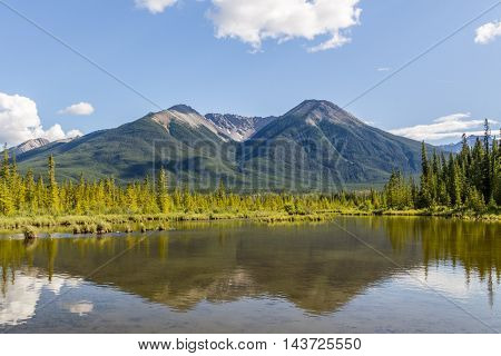 Beautiful Lake Vermilion In The Mountains Of Banff National Park.