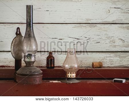 Vintage Kerosene Lamp And Candle Holder