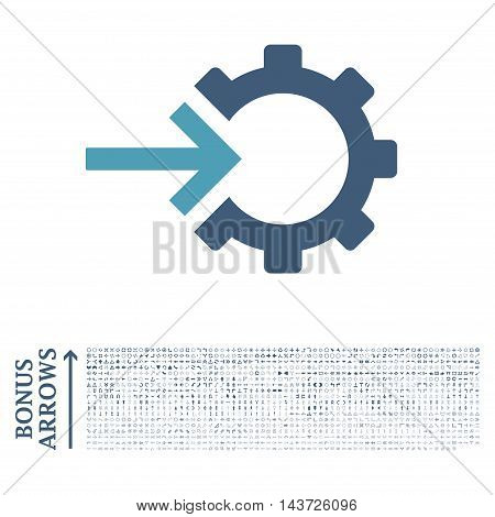 Cog Integration icon with 1200 bonus arrow and direction pictograms. Vector illustration style is flat iconic bicolor symbols, cyan and blue colors, white background.