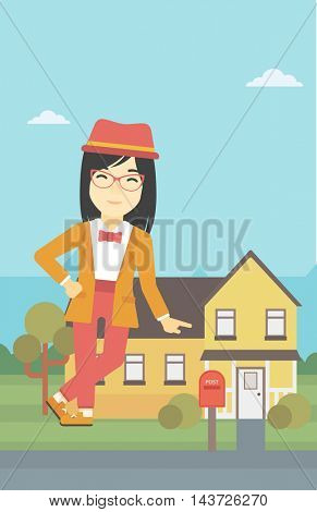 An asian young female real estate agent standing near the house. Real estate agent leaning on the house. Real estate agent offering house. Vector flat design illustration. Vertical layout.