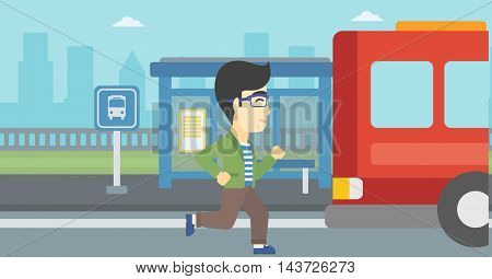 An asian latecomer man running along the sidewalk to reach a bus. Young man came too late at bus stop. Man chasing a bus. Vector flat design illustration. Horizontal layout.