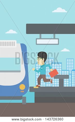 An asian latecomer man with briefcase running along the platform to reach the train. Young man came too late at train station. Vector flat design illustration. Vertical layout.