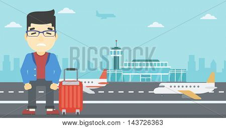 An asian man frightened by future flight. Young man suffering from fear of flying. Phobia, fear of flying concept. Vector flat design illustration. Horizontal  layout.