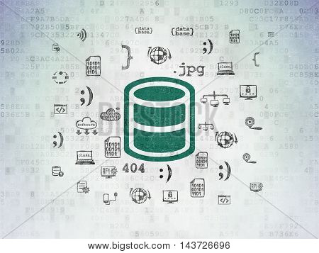 Database concept: Painted green Database icon on Digital Data Paper background with  Hand Drawn Programming Icons