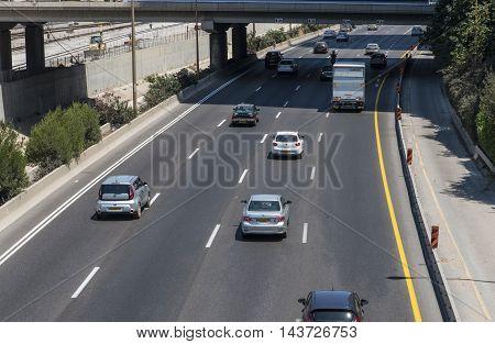 Tel Aviv, Israel-27 July, 2016 : Ayalon highway view from Savidor railway station in Tel aviv