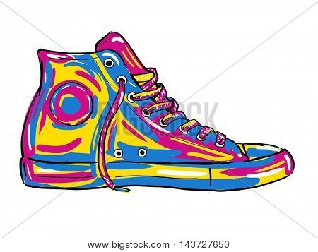 Retro sneakers hand drawn and hand painted