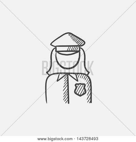 Policewoman sketch icon for web, mobile and infographics. Hand drawn vector isolated icon.