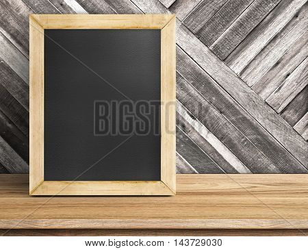 Blank Blackboard Wood Frame On Wooden Table At Diagonal Wood Wall,template Mock Up For Adding Your D