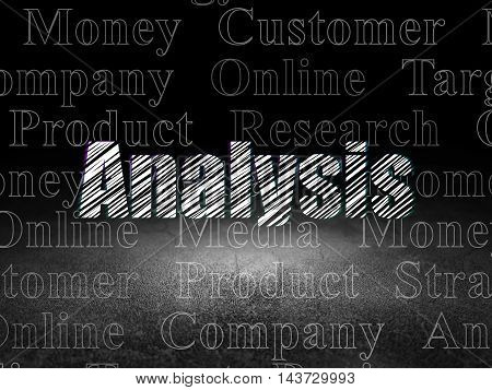 Advertising concept: Glowing text Analysis in grunge dark room with Dirty Floor, black background with  Tag Cloud
