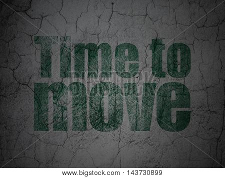 Timeline concept: Green Time to Move on grunge textured concrete wall background