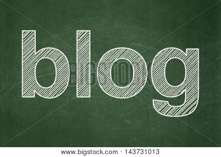 Web design concept: text Blog on Green chalkboard background