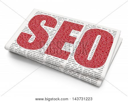 Web development concept: Pixelated red text SEO on Newspaper background, 3D rendering