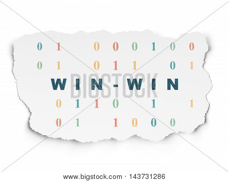 Business concept: Painted blue text Win-Win on Torn Paper background with  Binary Code
