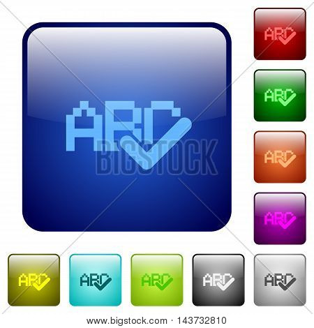 Set of spell check color glass rounded square buttons