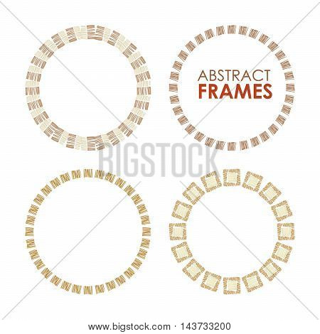 Abstract vector frame set. Ethnic circle borders, hand drawn vector.