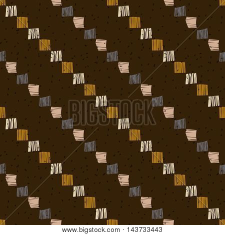 Brown checkered grunge seamless pattern. Abstract background.