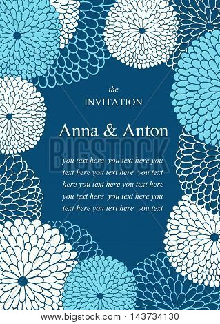 Vector Wedding invitation with flowers. Floral romantic vector background in blue. Frame with flowers and text.