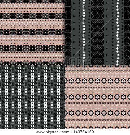Geometric seamless pattern set. Four abstract striped backgrounds.