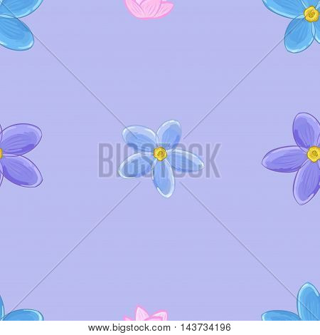 Stylish floral seamless pattern with forget-me-not flowers on violet background.