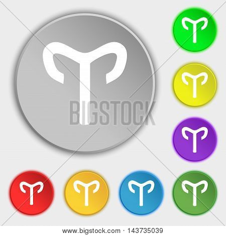 Decorative Zodiac Aries Icon Sign. Symbol On Eight Flat Buttons. Vector