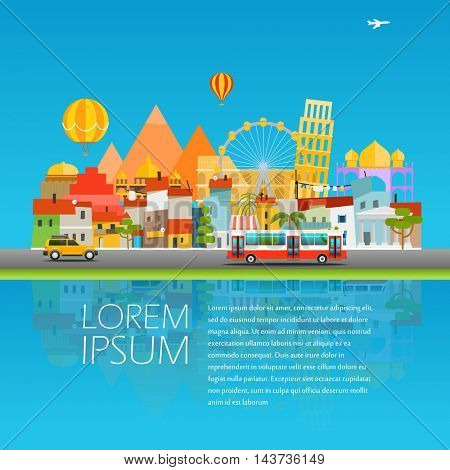 Around the world concept. Asia cityscape Vector travel illustration. Copy-space for any text