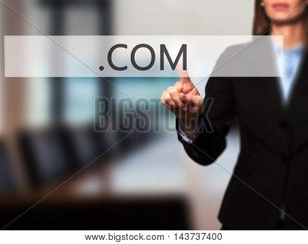 .com - Businesswoman Hand Pressing Button On Touch Screen Interface.