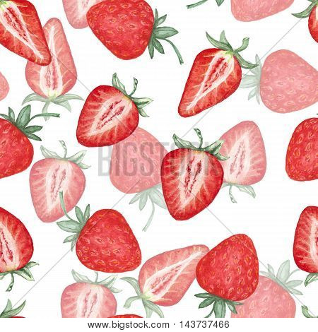 Strawberry 2. Seamless pattern. Background. Watercolor.  hand-drawing