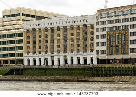 LONDON ENGLAND - JULY 8 2016: London Bridge Hospitl - one of the largest Private Hospitals in the UK recognised internationally for medical excellence highest standard of clinical expertise and nursing care.