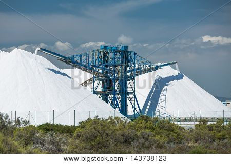 Production of salt. Mountains of sea salt