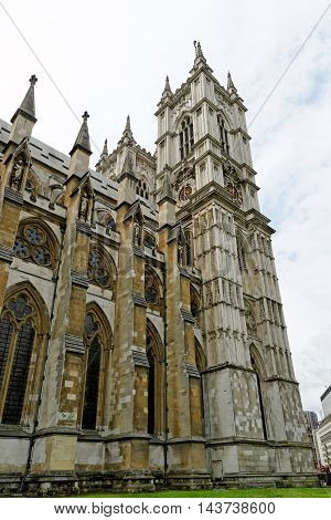 Westminster Abbey (Collegiate Church of St Peter at Westminster) - Gothic church in City of Westminster London. Westminster is traditional place of coronation for English monarchs.