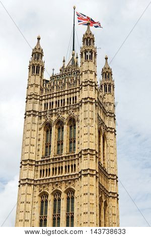 Victoria Tower (Charles Barry design) - largest and tallest tower of Palace of Westminster. Palace of Westminster (or Houses of Parliament) located in City of Westminster London.