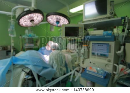 Blur of Doctor Surgeons team working with Monitoring of patient in surgical operating room background anesthesiology machine