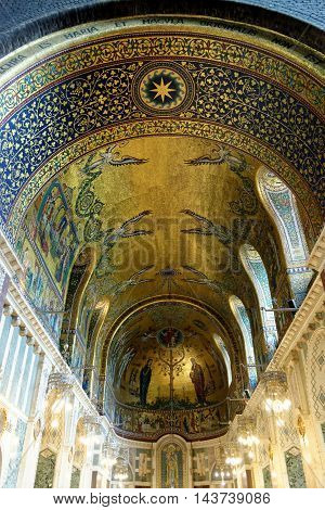 LONDON ENGLAND - JULY 8 2016: Westminster Cathedral interior. The Lady chapel the first of the chapels to be completed and which is also decorated with very fine mosaics.