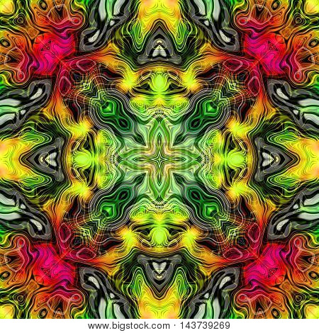 Abstract decorative multicolor (green, yellow, red) texture - kaleidoscopic pattern