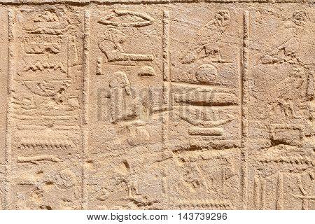 Hieroglyphs on a wall. Karnak Temple Luxor Egypt