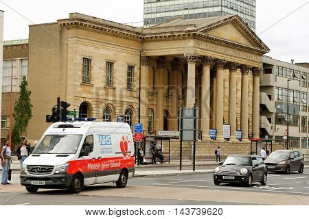 LONDON ENGLAND - JULY 8 2016: The Metropolitan Tabernacle at Elephant and Castle in the London Borough of Southwark. It is a large Independent Reformed Baptist church.
