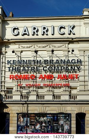 LONDON ENGLAND - JULY 08 2016 - The Garrick Theatre is a West End theatre located on Charing Cross Road in the City of Westminster named for the stage actor David Garrick.