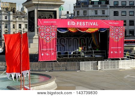 LONDON ENGLAND - JULY 8 2016: An open stage of the Eid Festival on Trafalgar Square. It is an annual Muslim festival marking the end of Ramadan.