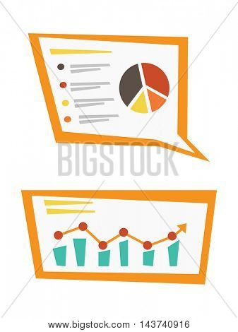 Linear and pie charts. Business presentation. Vector flat design illustration isolated on white background.