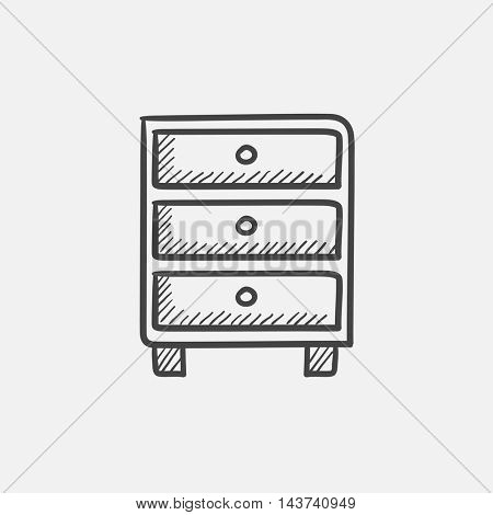 Chest of drawers sketch icon for web, mobile and infographics. Hand drawn vector isolated icon.